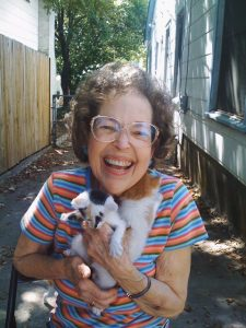 Betty Sue Cox with kittens